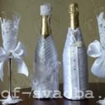 Украшение свадебных бутылок.